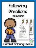 Fall Following Directions Cards & Coloring Sheets
