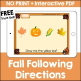 Fall Following Directions No Print Interactive PDF