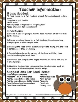 Math and Food Fun Trail Mix for Fall