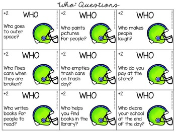 Fall Football Frenzy - A WH-Questions Game