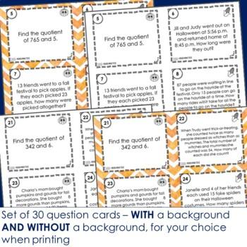 Fall Math  Mixed Math Practice Footloose Task Cards