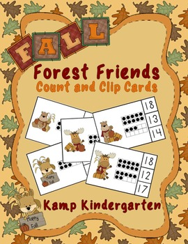 Fall Forest Friends Count and Clip Cards