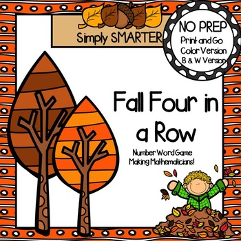 Fall Four in a Row:  NO PREP Number Word Game