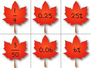 Fall Fraction Decimal Percent Task Cards and Centers