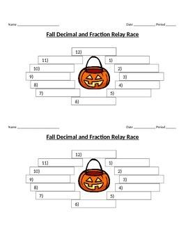 Fall Fraction & Decimal Relay Race