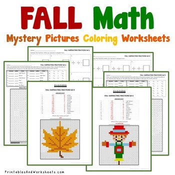 Autumn Fall Fractions Coloring Worksheets, Fall Fraction Activities