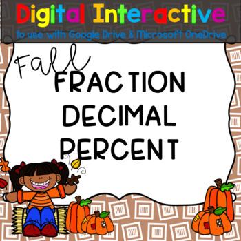 #hallowdeals Fall Fractions, Decimals, and Percents Digita