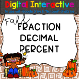 Fall Fractions, Decimals, and Percents Digital Interactive for Google Drive