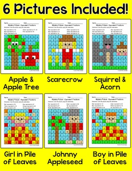 Fall Activities - Equivalent Fractions Mystery Pictures Math Centers
