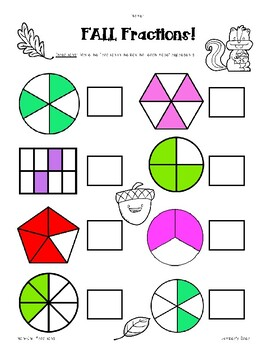 Fall Fractions Pack! - Naming Unit and Non-Unit Fractions - 2 Worksheets