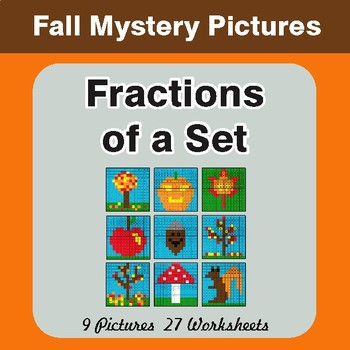 Fall: Fractions of a Set - Color-By-Number Math Mystery Pictures