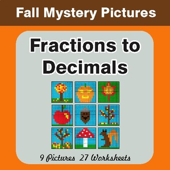 Fall: Fractions to Decimals - Color-By-Number Math Mystery Pictures