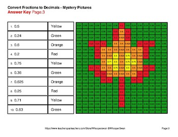Fall: Fractions to Decimals - Color-By-Number Mystery Pictures