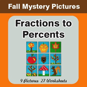 Fall: Fractions to Percents - Color-By-Number Math Mystery Pictures