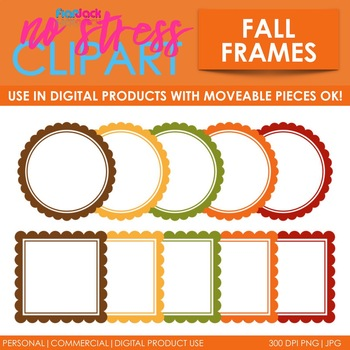Fall Frames Clip Art (Digital Use Ok!) by FlapJack Educational Resources