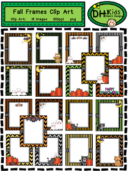 Fall Frames with Clip Art - Halloween Frames - Personal and Commercial Use
