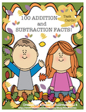 Free Downloads Fall 100 Addition and Subtraction Facts  Ma