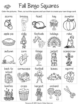Fall Free Create Your Own Luck Bingo