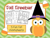 Fall Freebie: 5 Free Fall Worksheets
