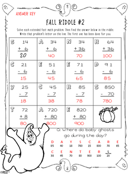 Fall Freebie - Extended Facts Math Riddles Addition and Subtraction