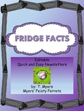 Fridge Facts- Editable Quick and Easy Newsletters