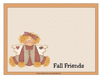 Fall Friends Number Order Learning Center Activity