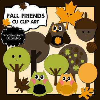 Fall Friends Owls and trees  Autumn Digital Clip Art Elements
