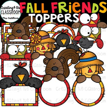 Fall Friends Toppers Clipart {Fall Clipart}