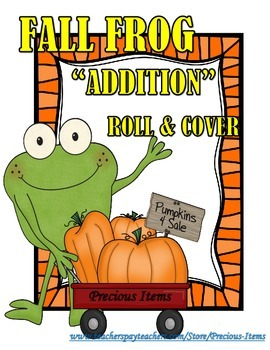 "Fall Frog ""Addition"" Roll and Cover - 2 Dice"