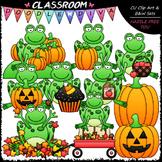 Fall Frogs Clip Art - Autumn Clip Art - Fall Clip Art & B&W Set
