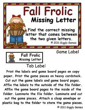 Fall Frolic Missing Letter File Folder Game
