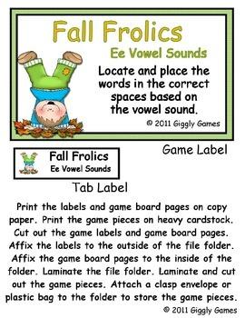 Fall Frolics E Vowel Sounds File Folder Game