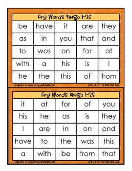 Fall High Frequency Sight Word Bingo Words 1-100