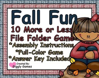 Fall Fun 10 More or Less File Folder Game