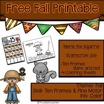 Fall Printable and Ten Frames {Freebie}