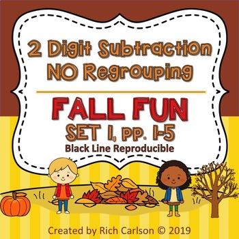 Fall Fun! 2 Digit Subtraction NO Regrouping - Set 1!  Fall FUN! (Black Line)