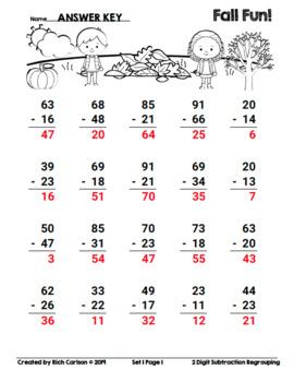 Fall Fun!  2 Digit Subtraction Regrouping - Set 1!  Fall FUN! (Black Line)