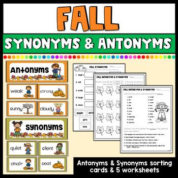 Fall Antonym & Synonym Matching & Worksheets Bundle