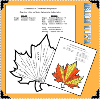 Fall Fun! Arithmetic Geometric Sequences Common Ratio Difference Activity