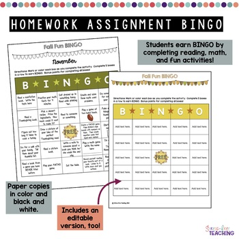 Homework Assignment Bingo Boards Fall Edition
