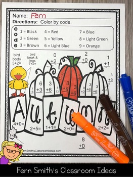 Color By Numbers Fall Math Addition and Subtraction Facts Bundle