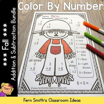 Fall Color By Numbers Addition and Subtraction Facts Bundle