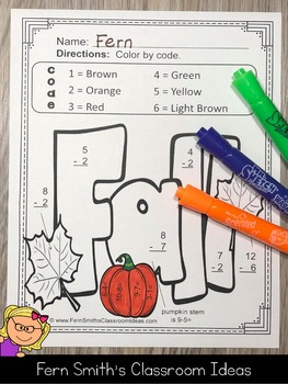 Fall Color By Number Addition and Subtraction Bundle