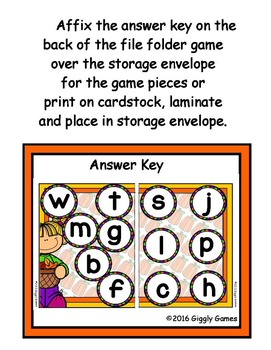 Fall Fun Beginning Sounds File Folder Game