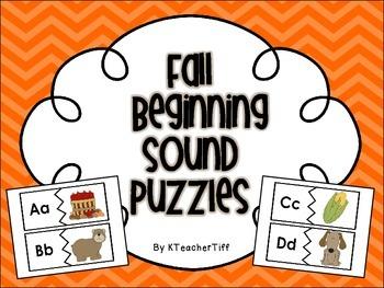 Fall Fun Beginning Sounds Printable Literacy Station