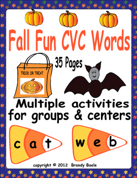 Fall Fun CVC Words  - Activities for Whole Group and Centers