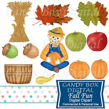 Fall Fun Clip Art: Leaves, Acorns, Apples, Pumpkins, Scarecrow