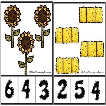 Fall Fun Counting Number Clip Cards 1 - 20 No prep Math Center Activity ABA