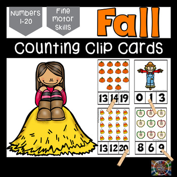 Fall Fun Counting Number Clip Cards 1 - 20 No prep Math Ce