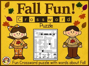 "Fall Crossword Puzzle Worksheet -""Fun"""